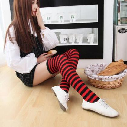New Striped Thigh High Socks - Red ..