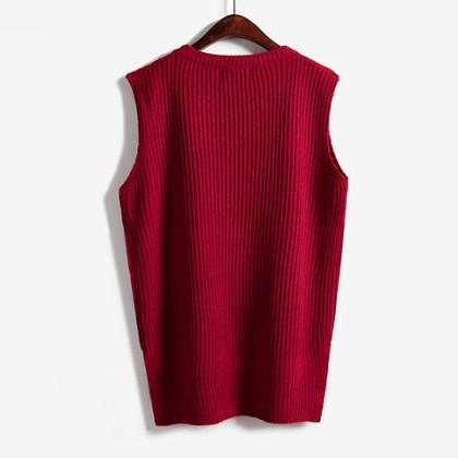 Women Sleeveless Vintage Pullover K..
