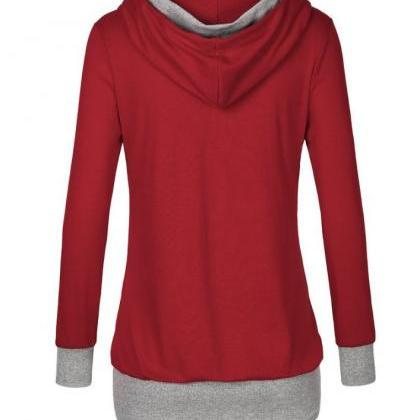 Autumn Patchwork Hooded Shirt Wome..