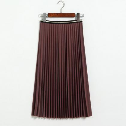 Fshion Women Pleated Skirt - Purple..