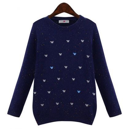 Cute Navy Blue Knitted Round Neck S..