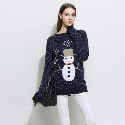 Cute Snowman Christmas Knitted Swea..