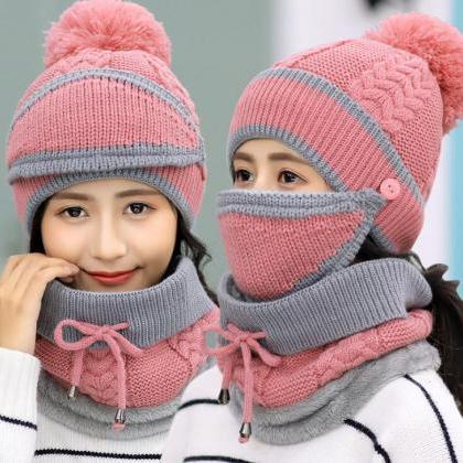 Fashion Winter Hedging Cap Scarf Su..