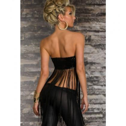 Sexy Strapless Sequin Decoration Bl..