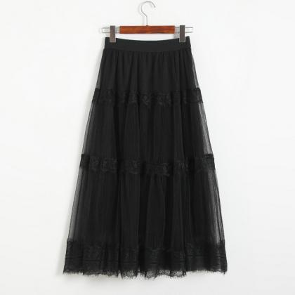 Womens New Sexy Gauze Midi Skirt Fa..