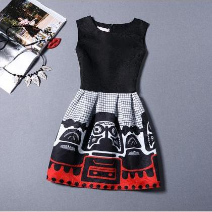 New Black Girl Pattern Sleeveless V..