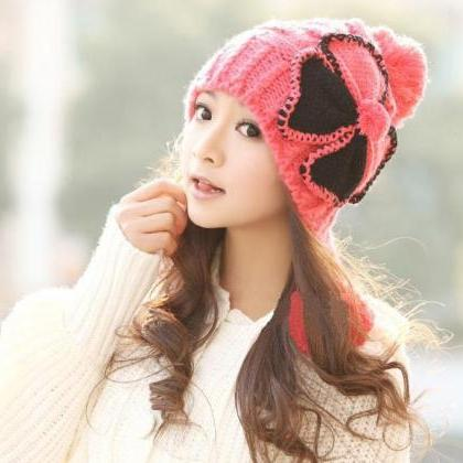 Cute Bow Winter Women's Knitted Hat..