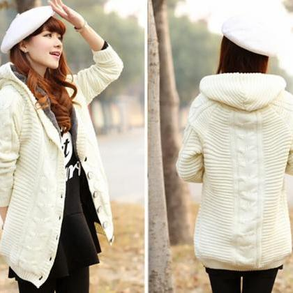 Sweet Hooded Collar Long Cardigan C..