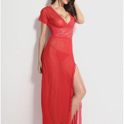 Sexy Long Night Gown Long Lingerie ..
