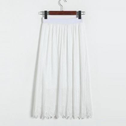 New Lace Hollow Pleated Skirts - Wh..
