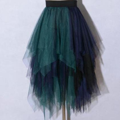 Irregular Tutu Midi Skirt - Green&B..