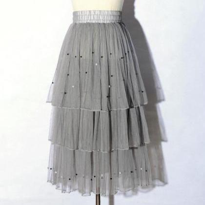 New Arrival Pleated Cake Skirt - Gr..