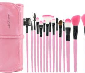 Hot!!High Quality 15 PCS Professioal Makeup Brush Set With Black Leather Case - Pink