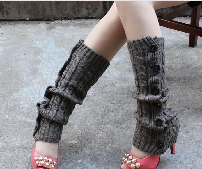 Winter Knitted Leg Warmers Accessories for Women - Dark Gray