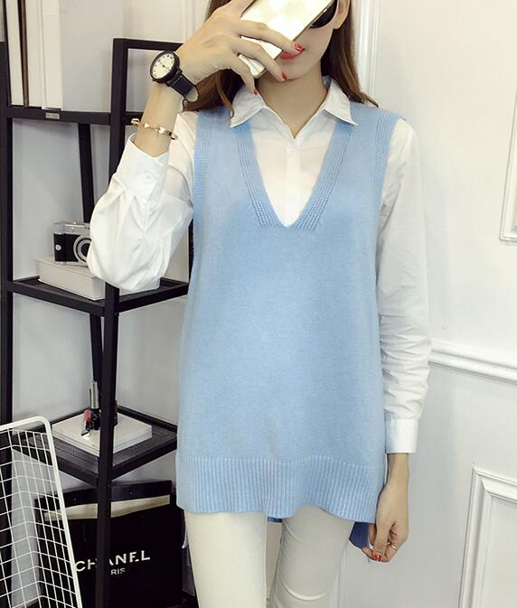 Women V Neck Sleeveless Vintage Pullover Knit Vest Tops - Light Blue