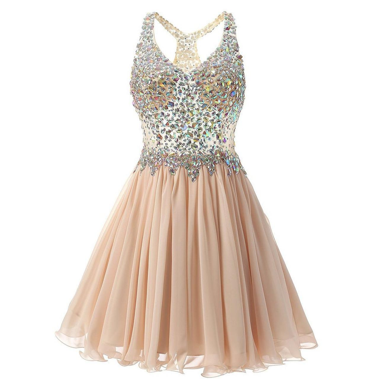 Luxurious V Collar Beads Sleeveless Party Short Dress - Champagne