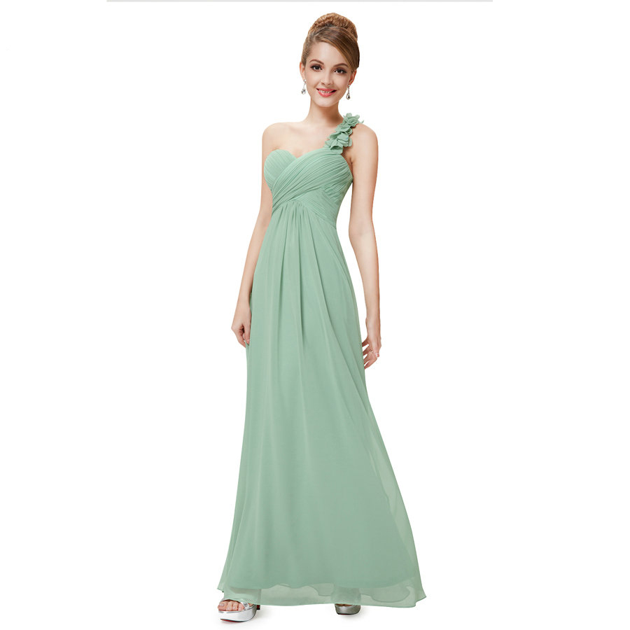 Fashion Women Flower One Shoulder Chiffon Padded Long Bridesmaid Dress - Mint Green