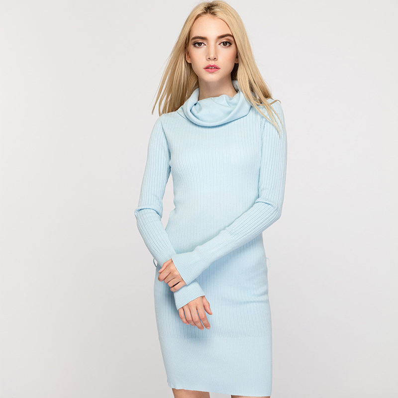 Stylish Knitted Long Sleeve Bodycon Sweater Dress (Without Belt) - Light Blue