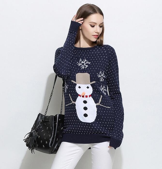 Cute Snowman Christmas Knitted Sweater - Navy Blue