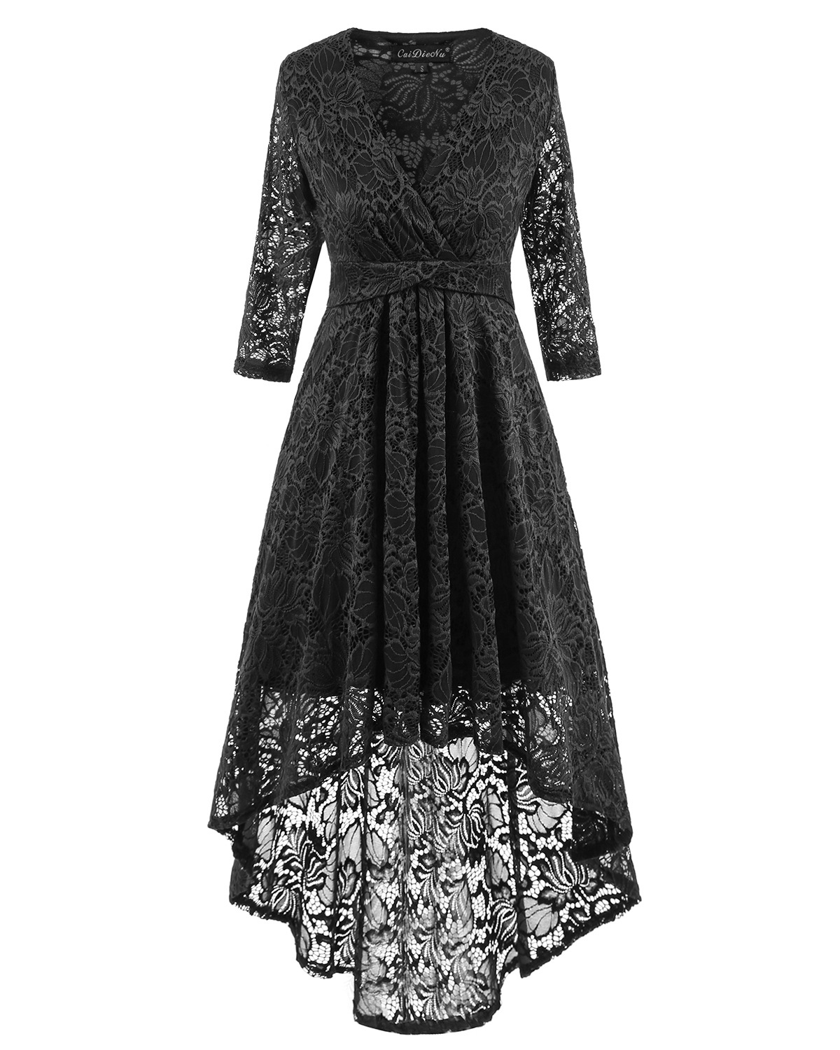 Women Half Sleeve Deep V Neck High Low Irregular Lace Party Dresses - Black
