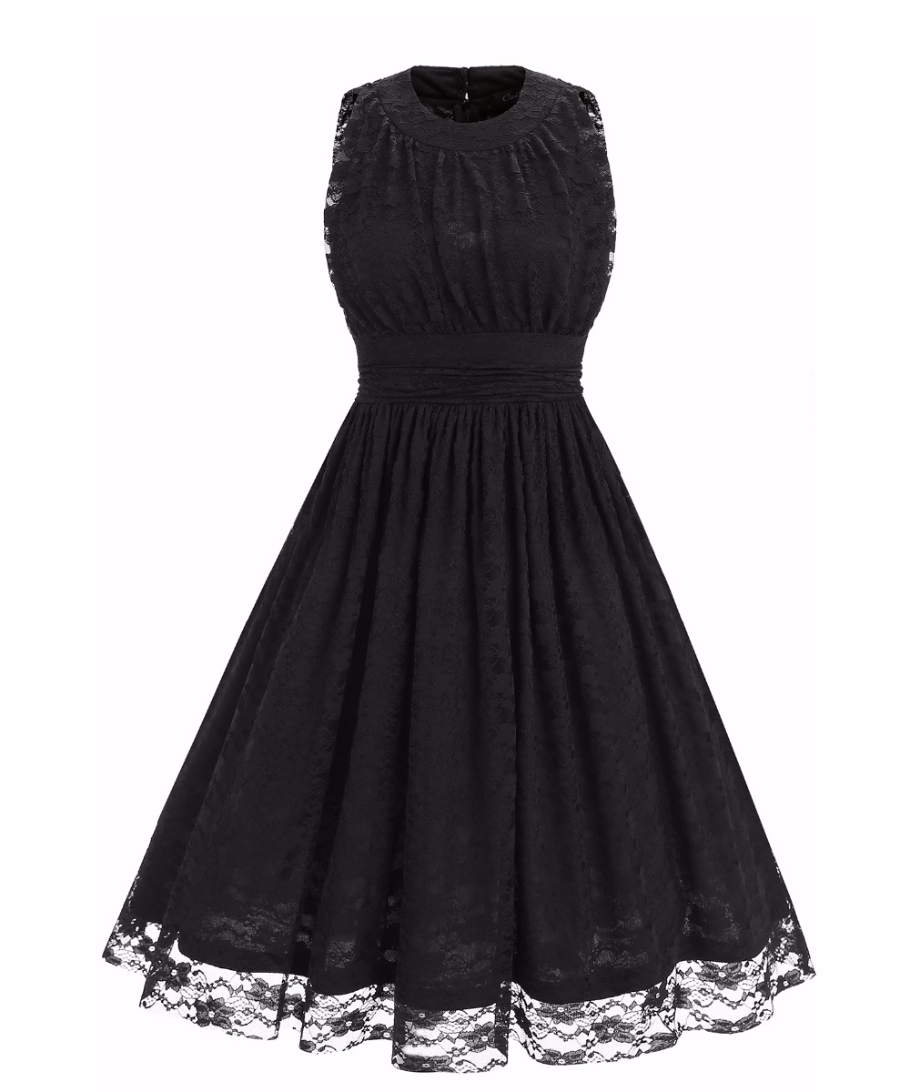 Women's O Neck Sleeveless Slim Tunic Ruched Floral Lace Dress - Black