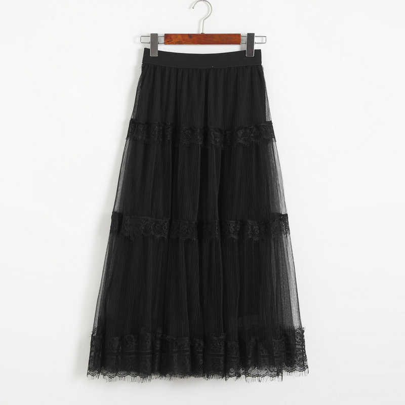 Womens New Sexy Gauze Midi Skirt Fashion High Waist Elastic Slim Skirts - Black