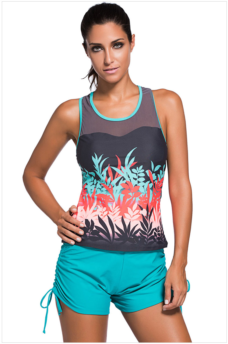 Round Neck Tank Top and Blue Shorts Swimwear
