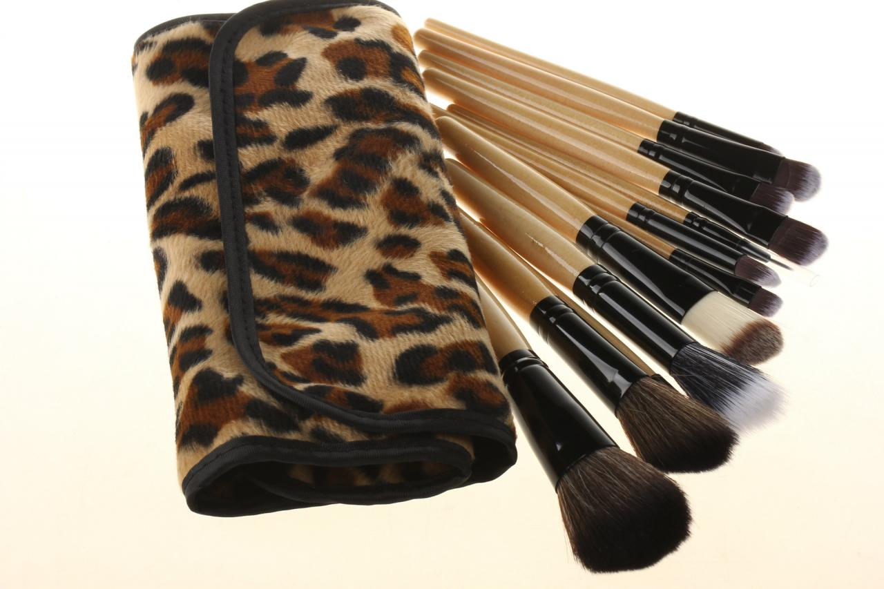 Professional Makeup Brush Set 12PCS Eyebrow Shadow Cosmetic Brush Kit With Leopard Fashion Bag Case