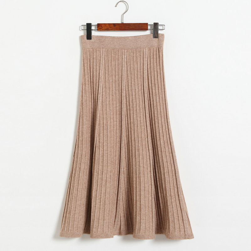 Autumn Winter Long Knitted Skirts Women Solid Color High Waist Casual Warm A-Line Skirt - Khaki