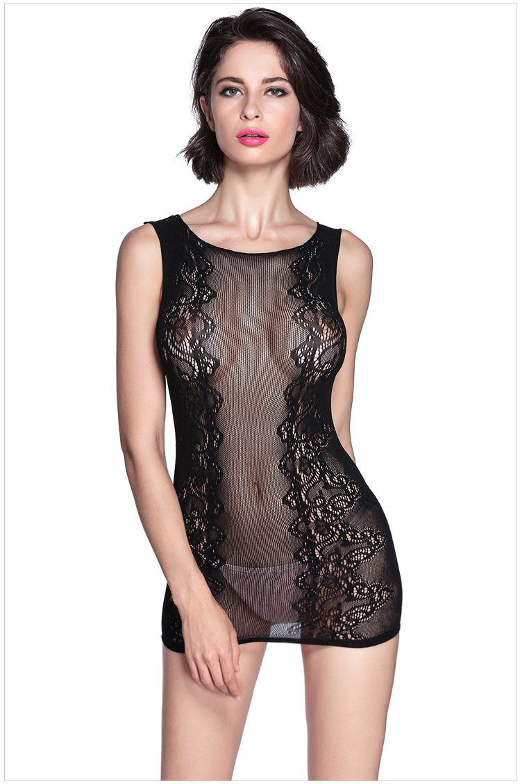 Hot Sale Sexy Lace Hollow Sleepwear For Women - Black