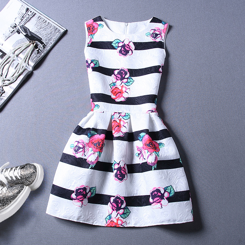 Sweet Fringe Printing Sleeveless Vest Dress For Women