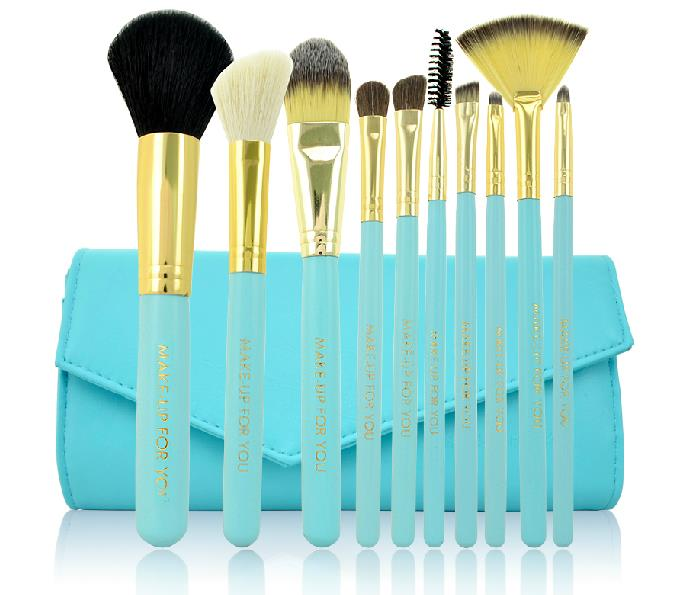 10 PCS Professional Makeup Brush Set With Leather Case - Blue