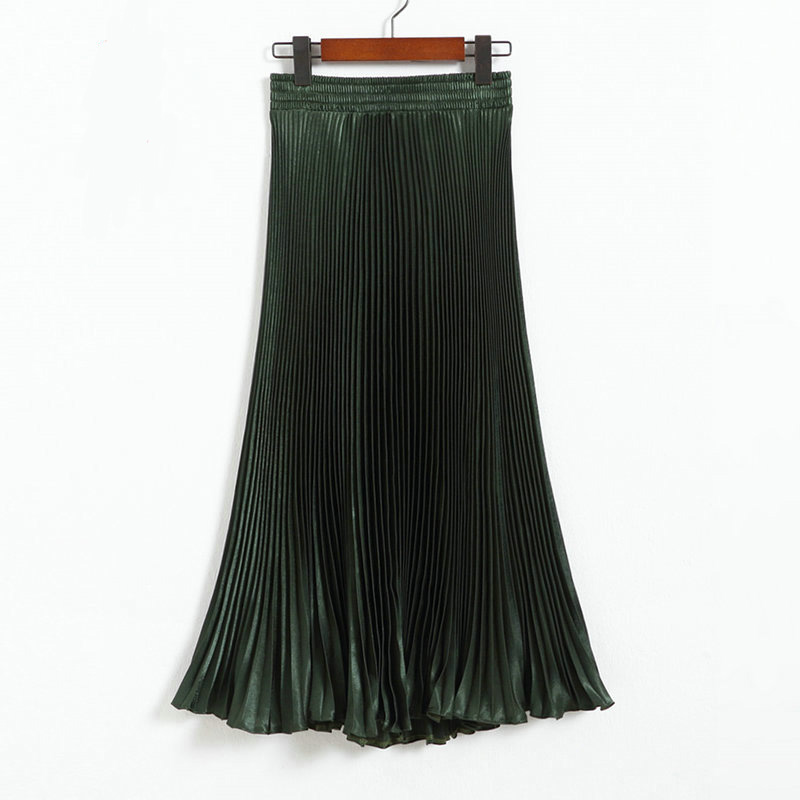 Autumn Satin Summer Casual Smooth Women Elastic Pleated Long Skirt - Dark Green