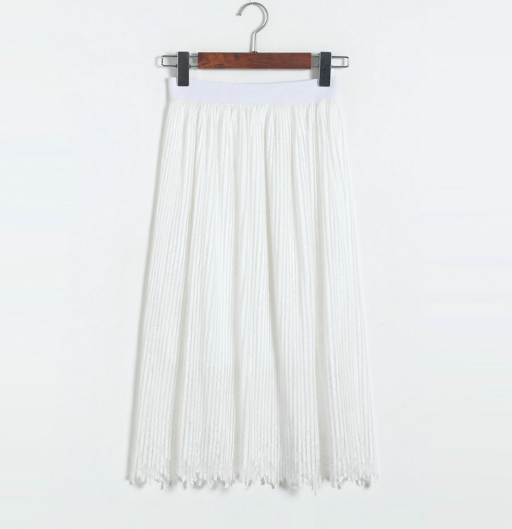 New Lace Hollow Pleated Skirts - White