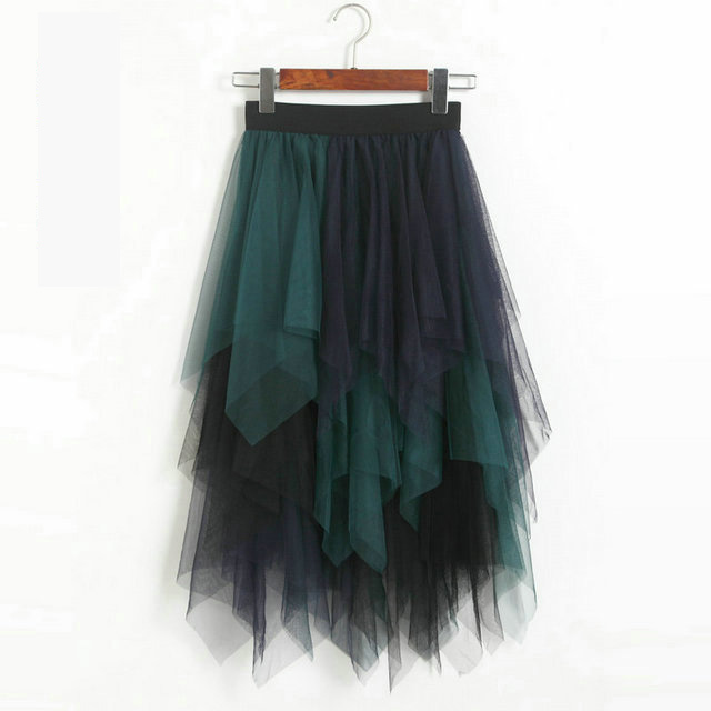 Irregular Tutu Midi Skirt - Green&Blue