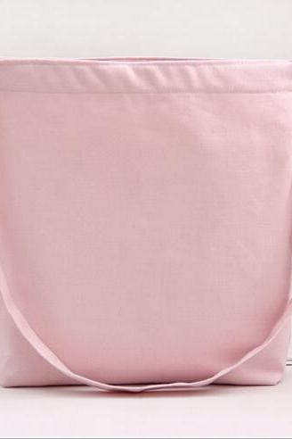 New Solid Canvas Handbag Shoulder Bag - Pink