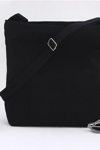 New Solid Canvas Handbag Shoulder Bag - Black