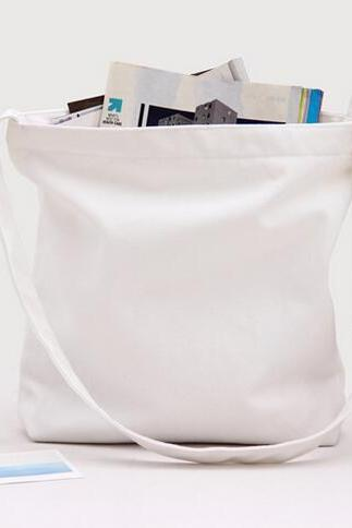 New Solid Canvas Handbag Shoulder Bag - White