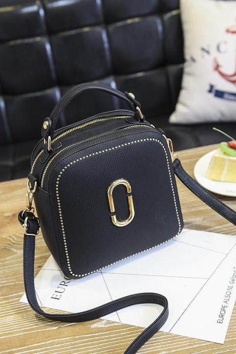 New Women Leather Handbags Small Square Bags Women Shoulder Messenger Bag - Black