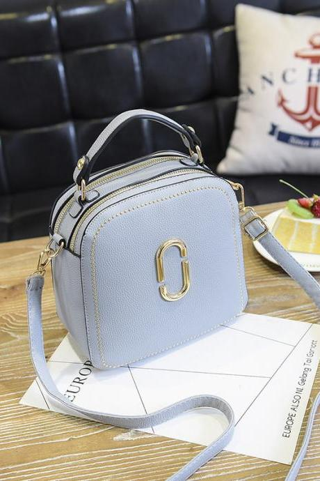 New Women Leather Handbags Small Square Bags Women Shoulder Messenger Bag - Light Blue