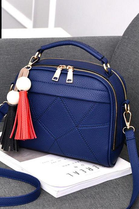 New Small Fashion Tassels Shoulder Messenger Bag - Blue