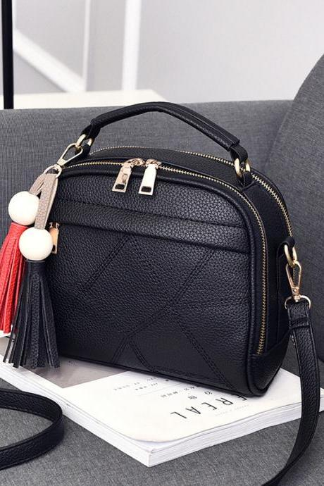 New Small Fashion Tassels Shoulder Messenger Bag - Black
