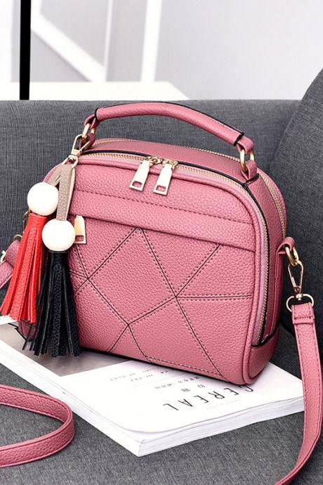 New Small Fashion Tassels Shoulder Messenger Bag - Pink