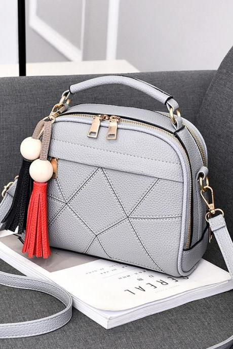 New Small Fashion Tassels Shoulder Messenger Bag - Light Grey