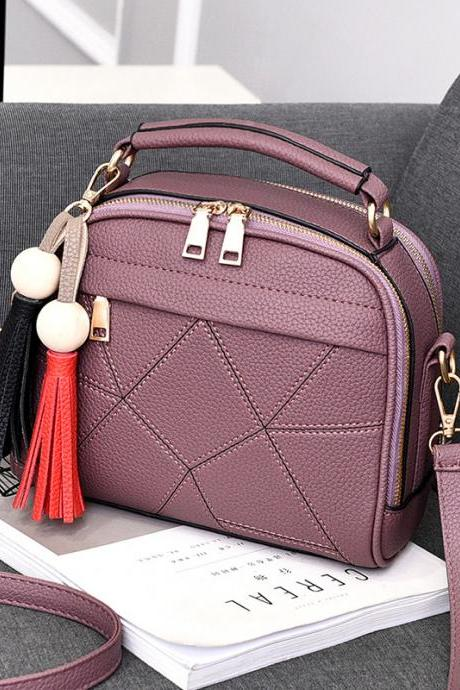New Small Fashion Tassels Shoulder Messenger Bag - Purple