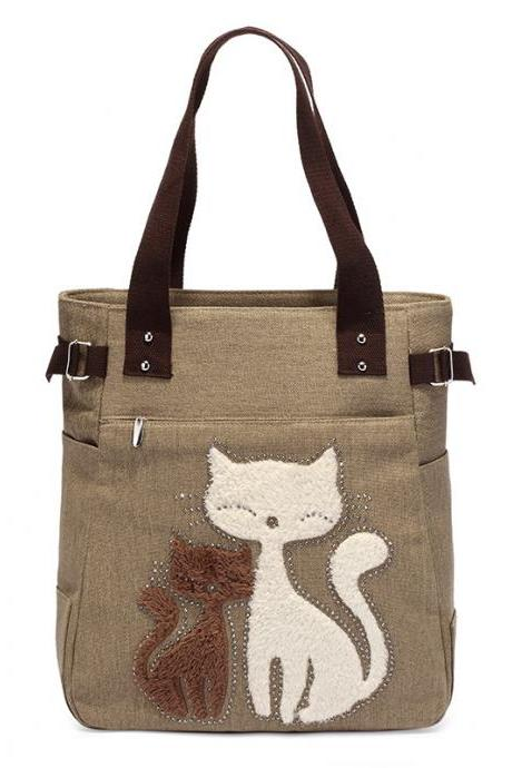 Fashion Women Handbag Cute Cat Tote Bag Lady Canvas Bag Shoulder Bag - Khaki