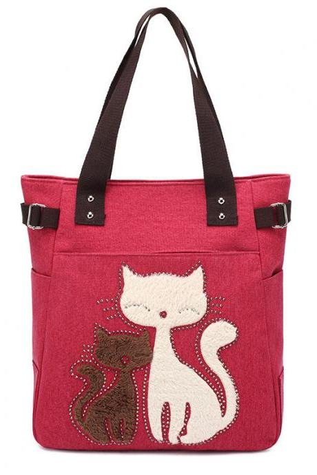 Fashion Women Handbag Cute Cat Tote Bag Lady Canvas Bag Shoulder Bag - Red