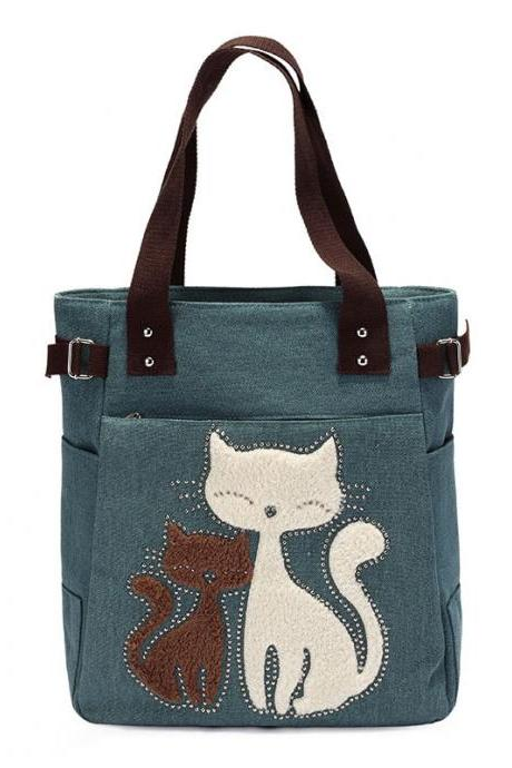 Fashion Women Handbag Cute Cat Tote Bag Lady Canvas Bag Shoulder Bag - Green