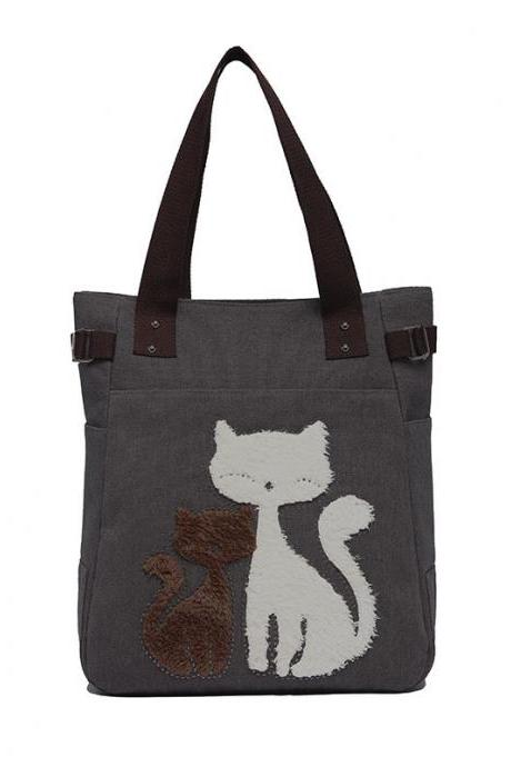 Fashion Women Handbag Cute Cat Tote Bag Lady Canvas Bag Shoulder Bag - Grey