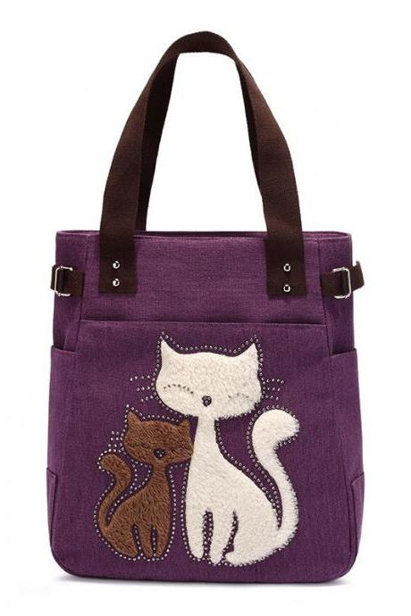 Fashion Women Handbag Cute Cat Tote Bag Lady Canvas Bag Shoulder Bag - Purple